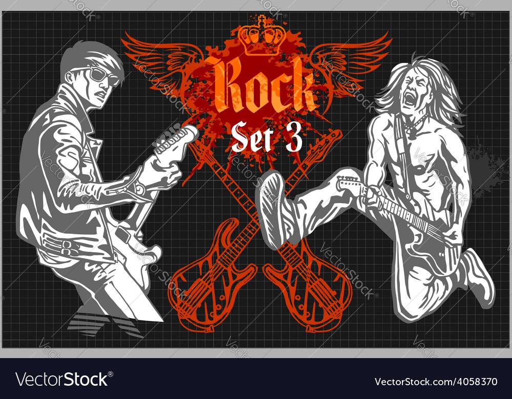 Rock-stars on rock concert - set vector | Price: 3 Credit (USD $3)