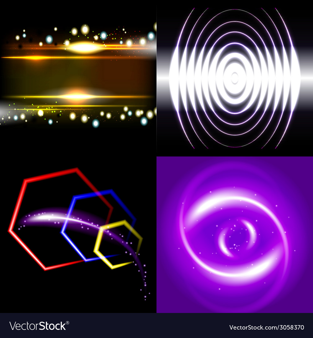 Set of beautifully glowing neon abstract vector | Price: 1 Credit (USD $1)