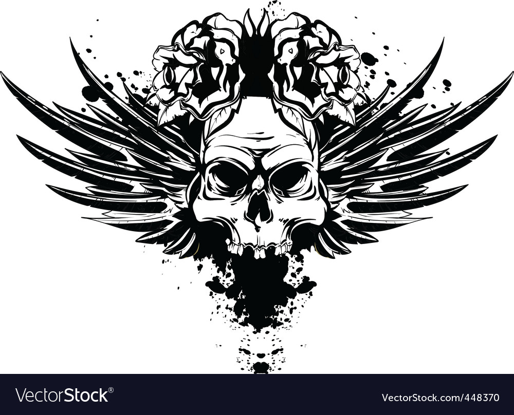 Skull with wings and roses vector
