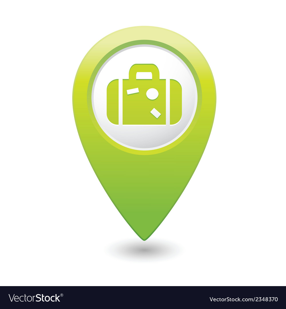 Suitcase icon on map pointer green vector | Price: 1 Credit (USD $1)