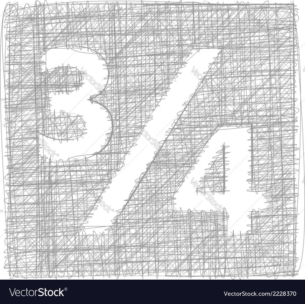 Three quarters sign - freehand symbol vector   Price: 1 Credit (USD $1)