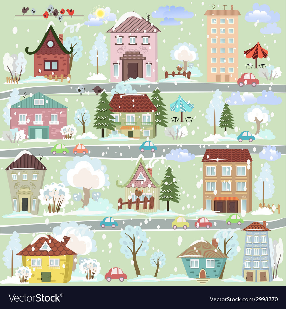 Winter landscape with cartoon houses and trees for vector | Price: 1 Credit (USD $1)
