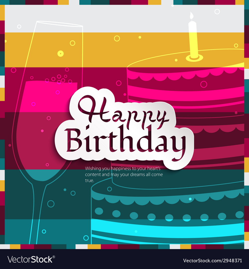 Birthday card on stripes colorful background vector | Price: 1 Credit (USD $1)