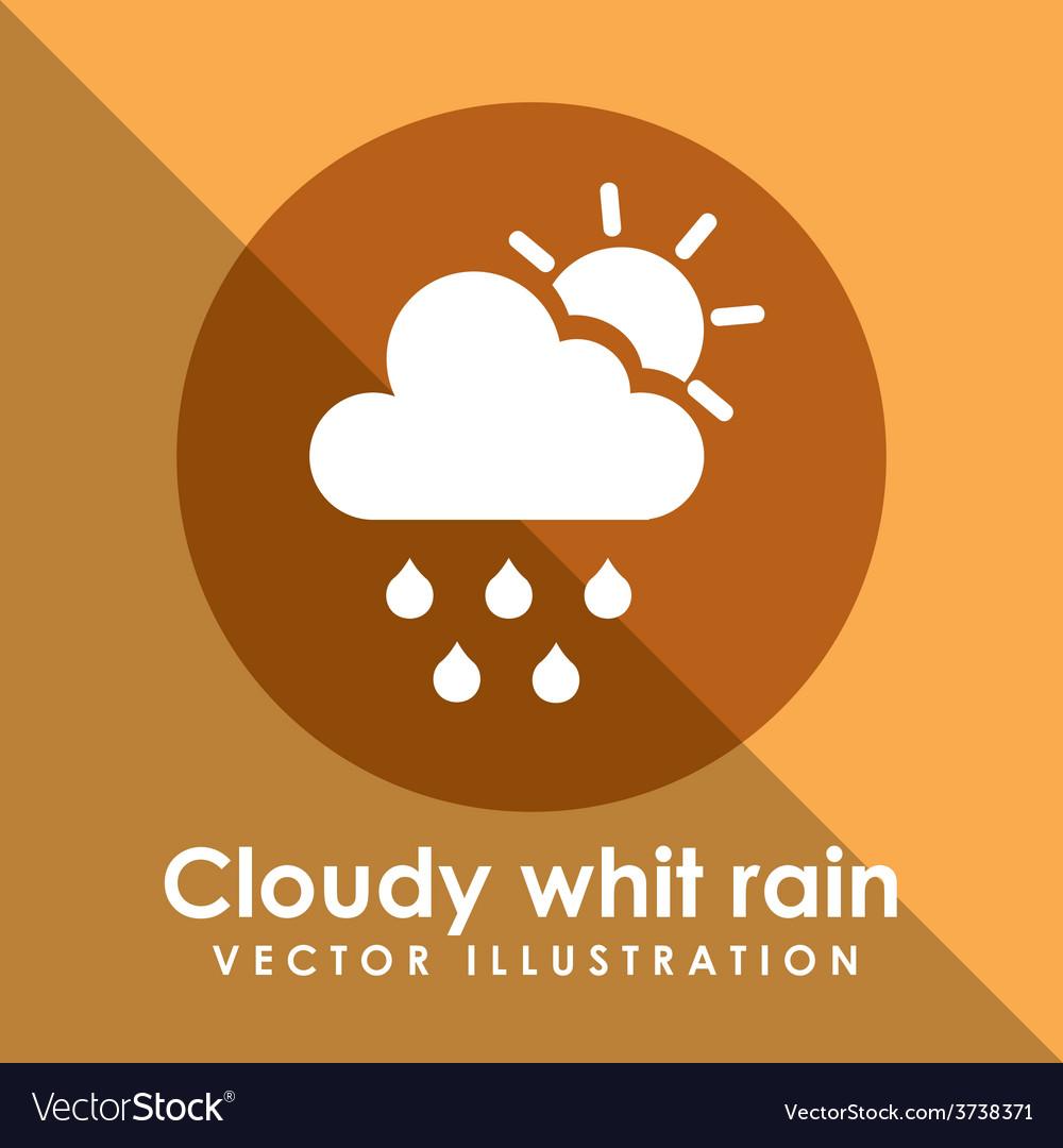 Cloudy white rain icon design vector | Price: 1 Credit (USD $1)