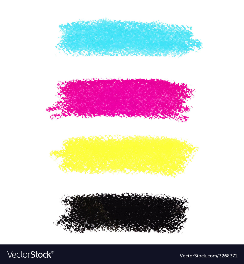 Cmyk colors pastel crayon stains vector | Price: 1 Credit (USD $1)