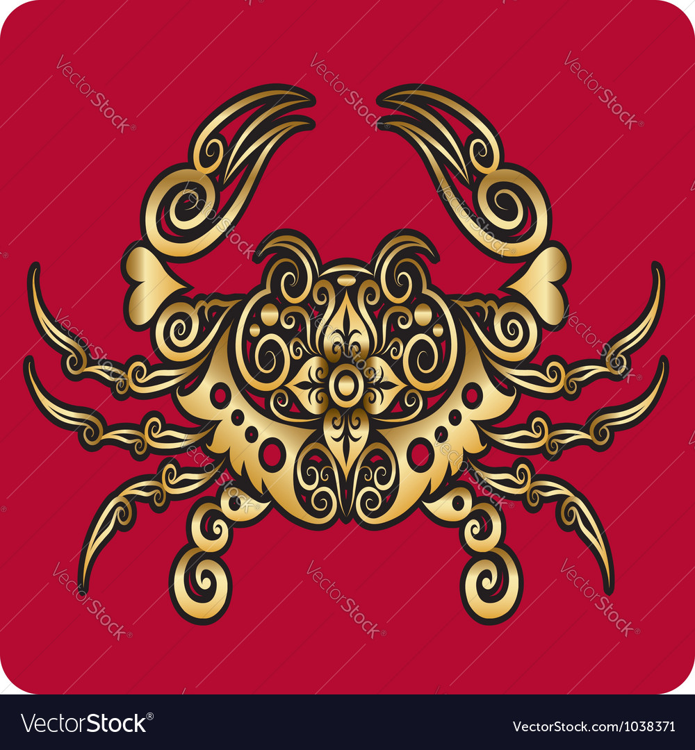 Golden crab ornament vector | Price: 1 Credit (USD $1)