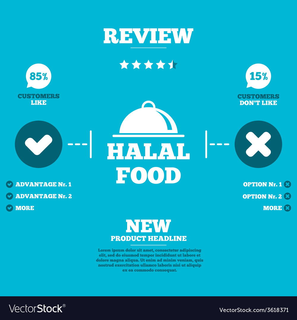 Halal food product sign icon natural food vector | Price: 1 Credit (USD $1)