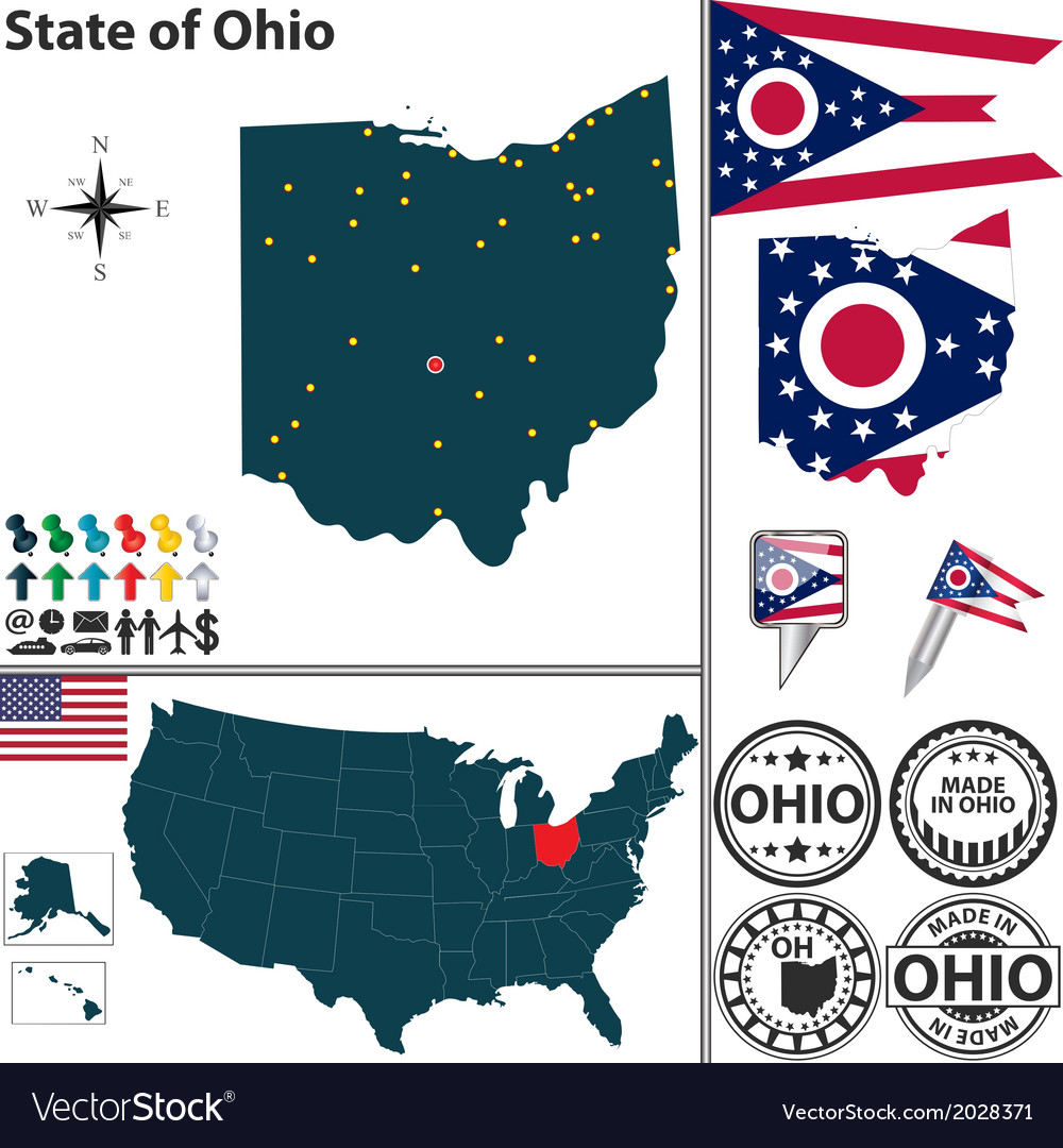 Map of ohio vector | Price: 1 Credit (USD $1)