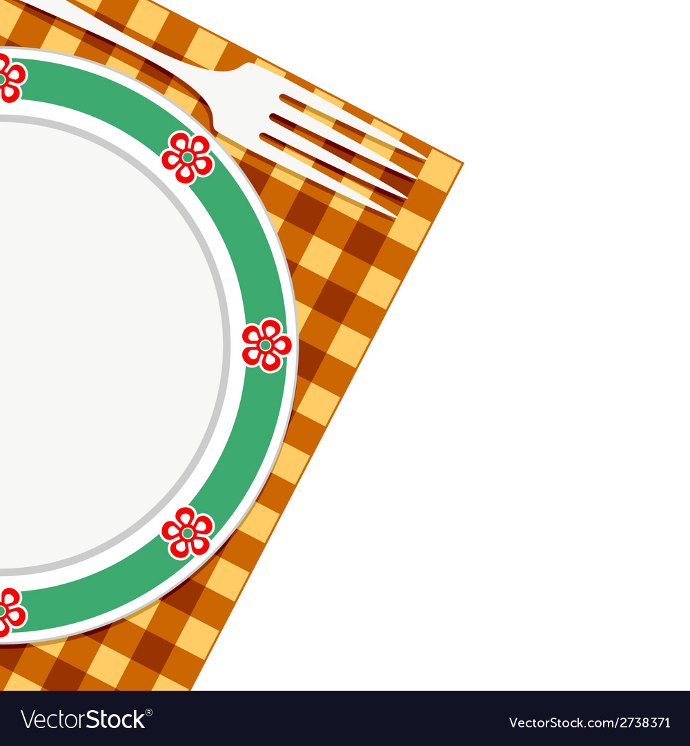Plate and fork on a napkin vector | Price: 1 Credit (USD $1)