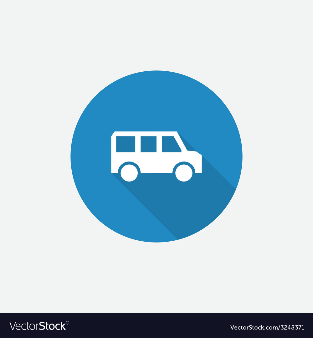 School bus flat blue simple icon with long shadow vector | Price: 1 Credit (USD $1)