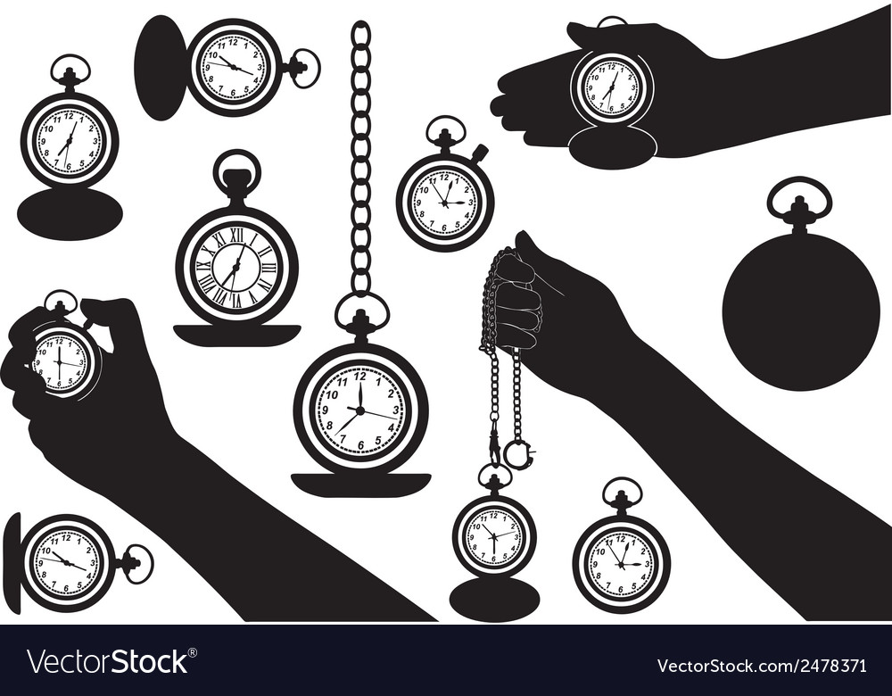 Set of different pocket watches vector | Price: 1 Credit (USD $1)