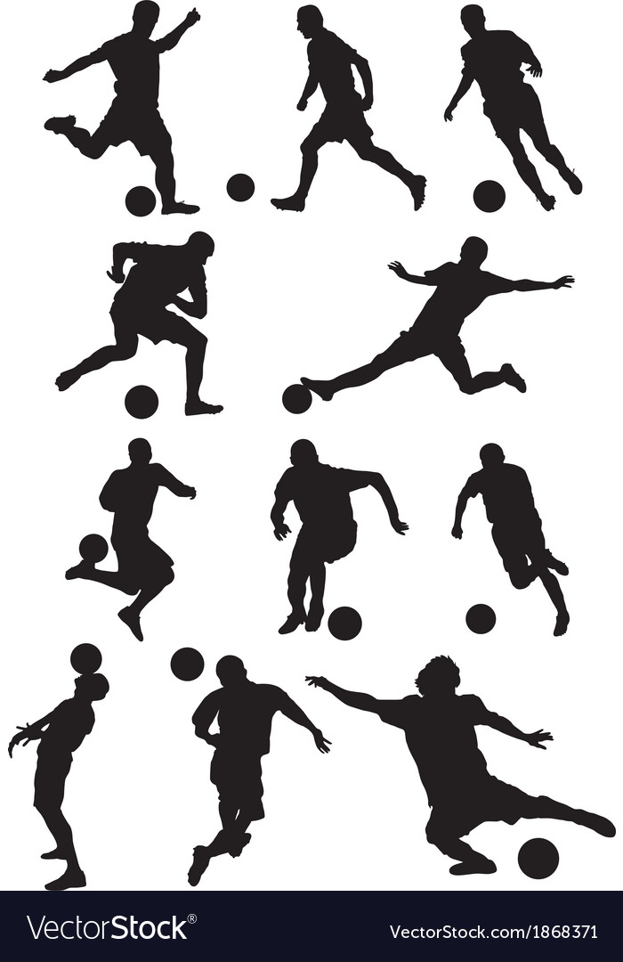 Soccer player silhouette vector | Price: 1 Credit (USD $1)