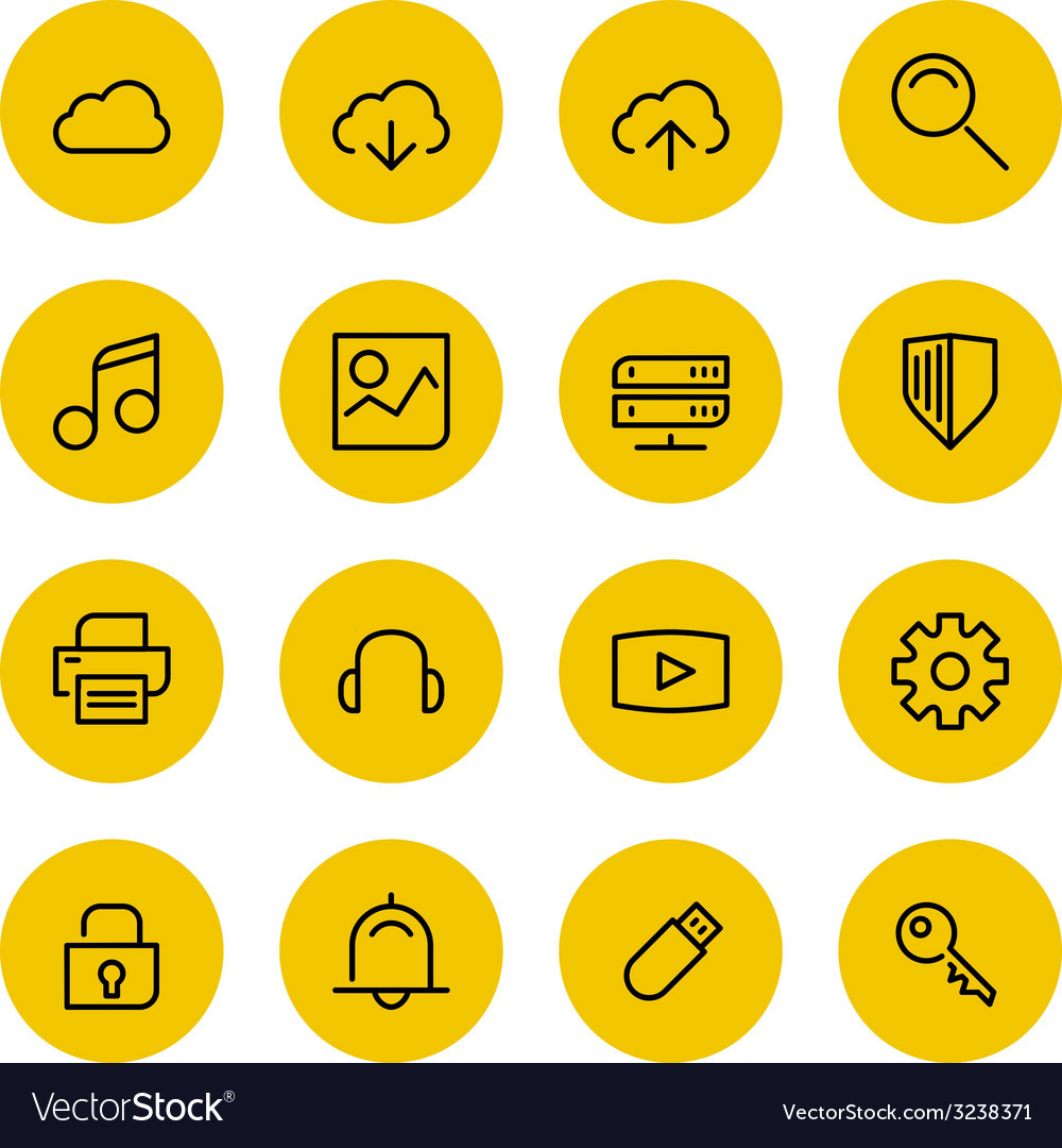 Thin line icons set for web and mobile vector   Price: 1 Credit (USD $1)