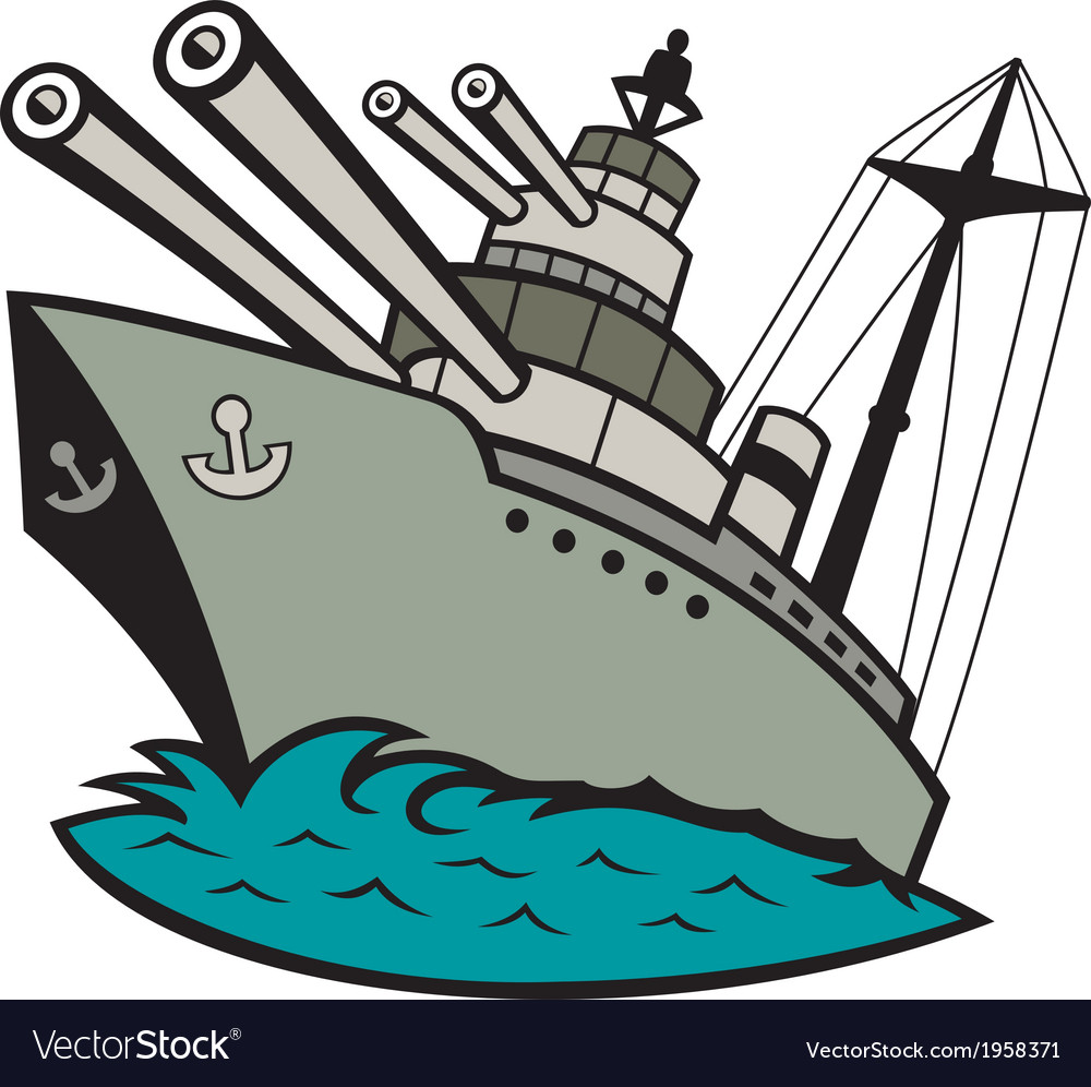 World war two battleship cartoon vector | Price: 1 Credit (USD $1)