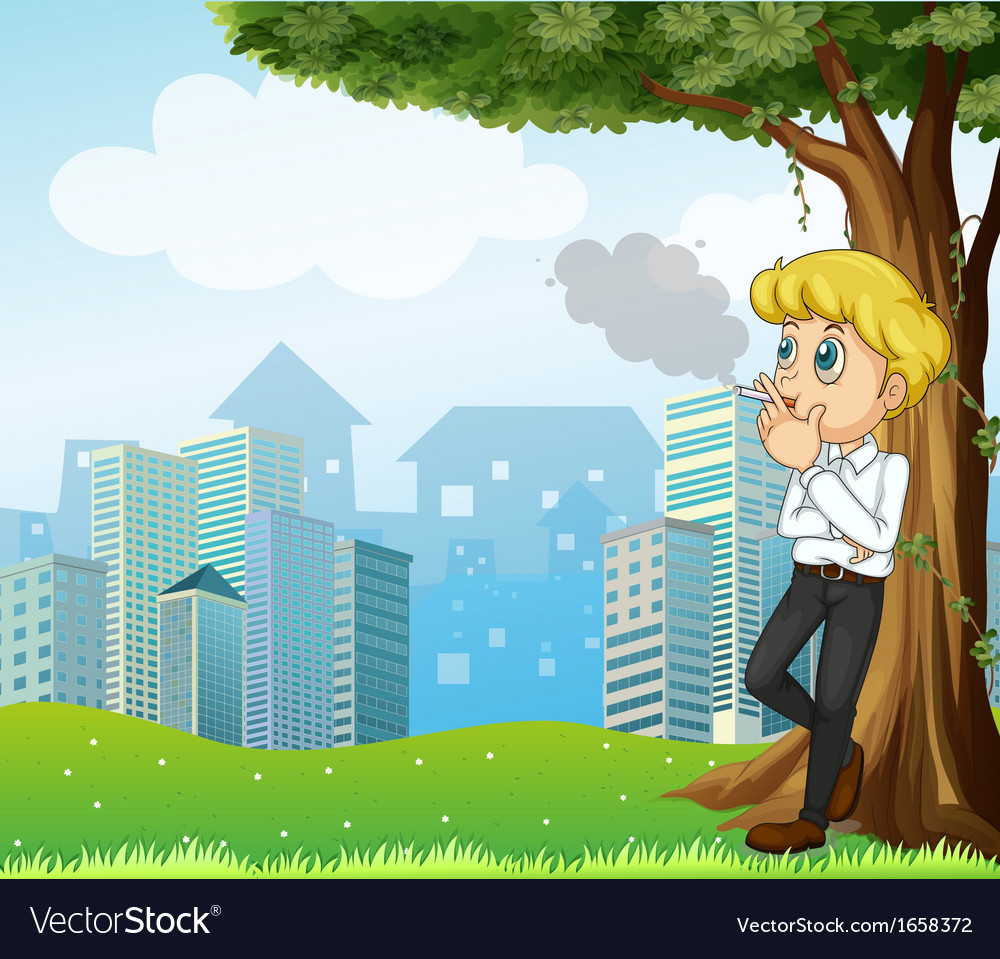 A boy smoking under the tree across the buildings vector | Price: 3 Credit (USD $3)