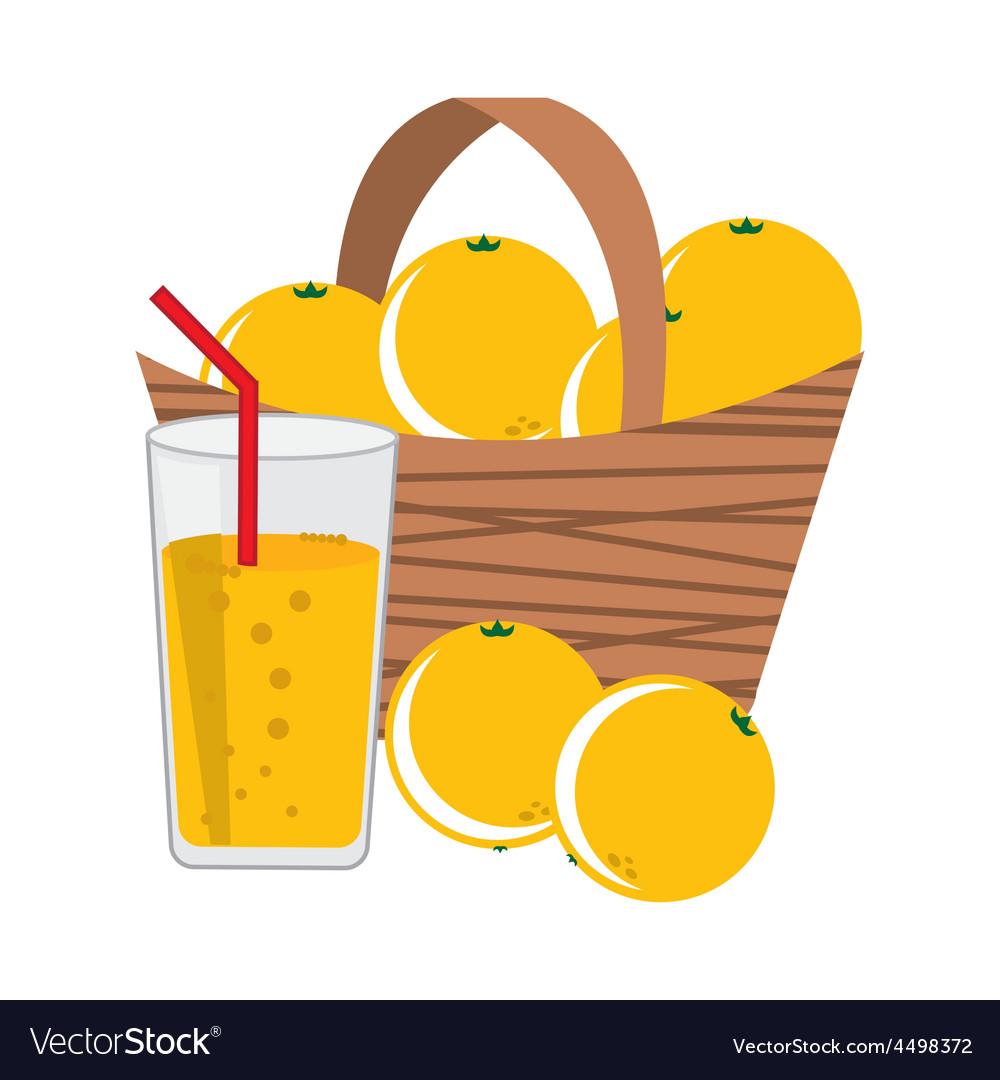 Basket oranges vector | Price: 1 Credit (USD $1)
