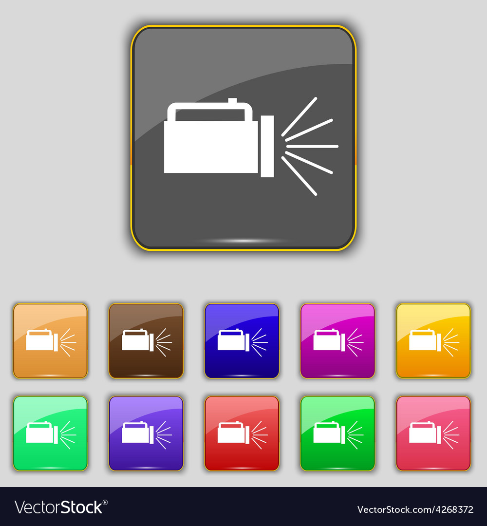 Flashlight icon sign set with eleven colored vector | Price: 1 Credit (USD $1)