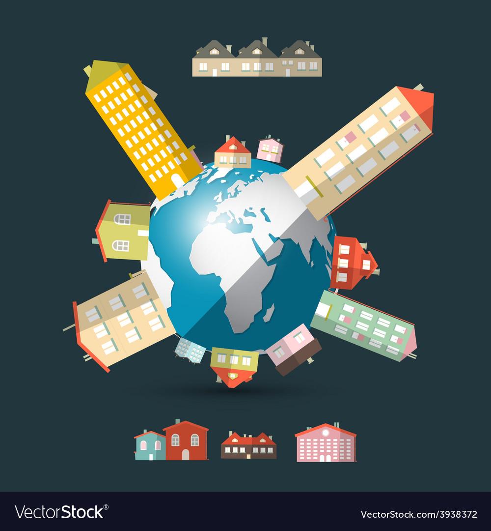 Flat design ui houses on globe - earth vector | Price: 1 Credit (USD $1)