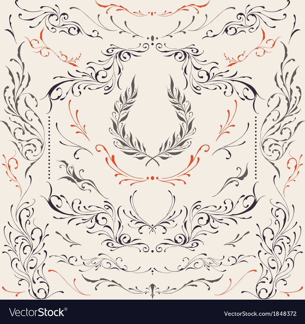 Floral frame and border ornaments vector | Price: 1 Credit (USD $1)