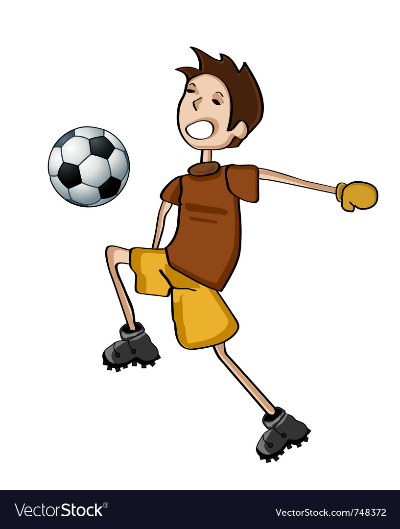 Kid playing football vector | Price: 1 Credit (USD $1)