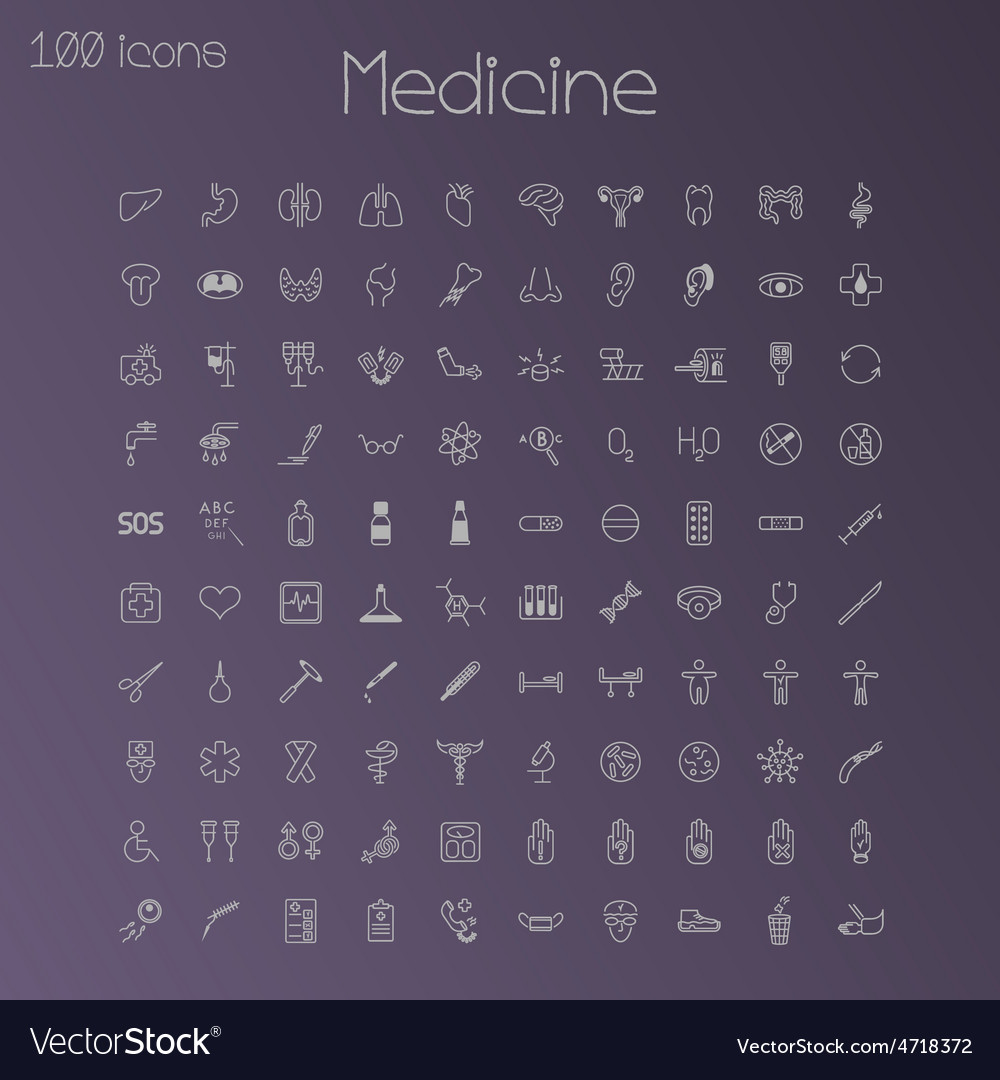 Medical icons set of 100 pieces vector | Price: 3 Credit (USD $3)