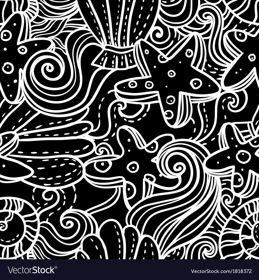Seamless monochrome sea background vector | Price: 1 Credit (USD $1)