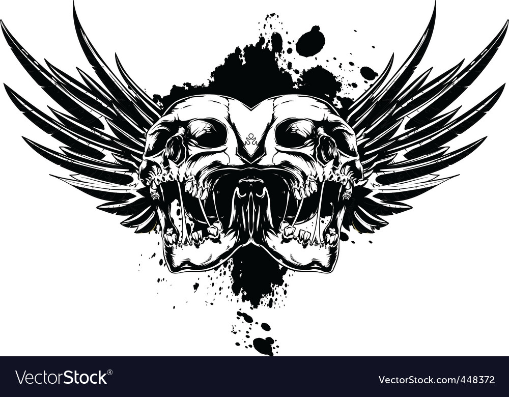 Skull with wings and splashes vector | Price: 1 Credit (USD $1)