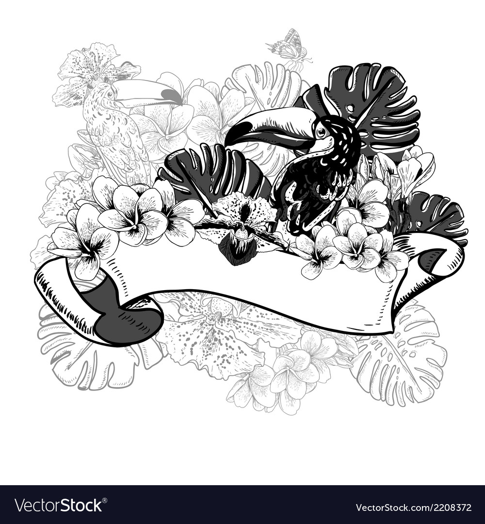 Tropical exotic floral card with toucan vector | Price: 1 Credit (USD $1)