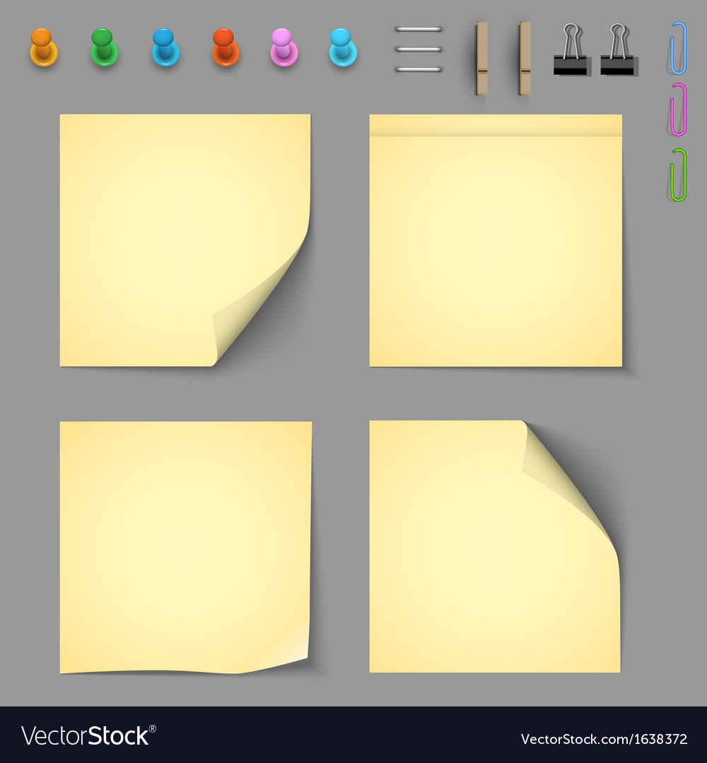 Yellow notice papers with elements for attaching vector | Price: 1 Credit (USD $1)