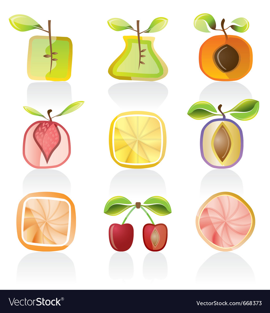 Abstract fruit icons vector | Price: 1 Credit (USD $1)