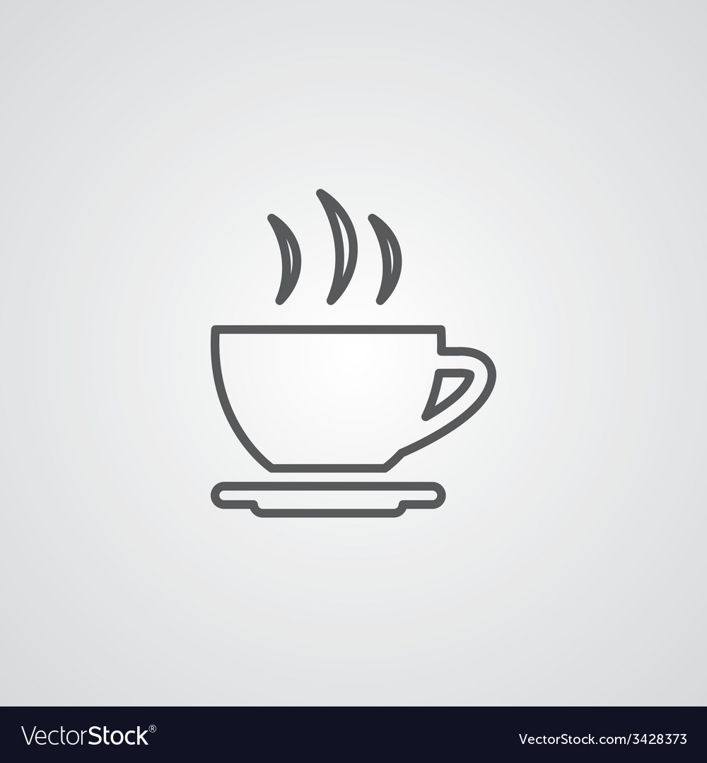 Cap of tea outline symbol dark on white background vector | Price: 1 Credit (USD $1)
