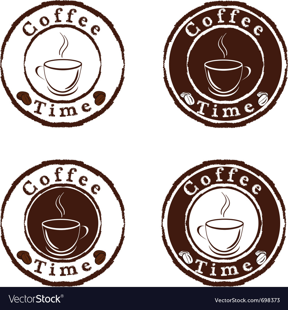 Coffee time stamps set vector | Price: 1 Credit (USD $1)