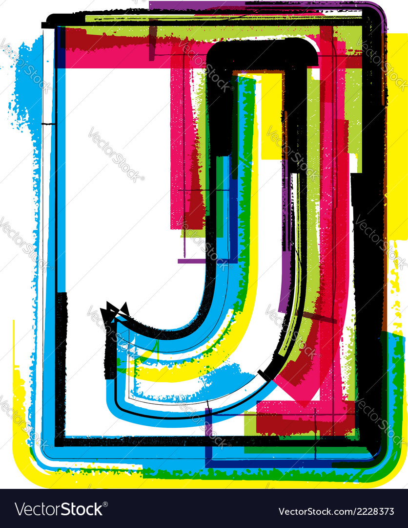 Colorful grunge font letter j vector | Price: 1 Credit (USD $1)