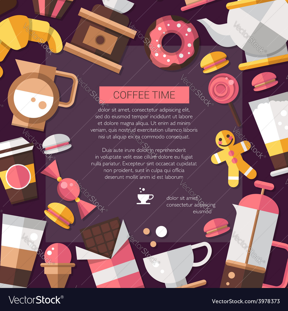 Flyer of modern flat design coffee-shop cafe and vector | Price: 1 Credit (USD $1)