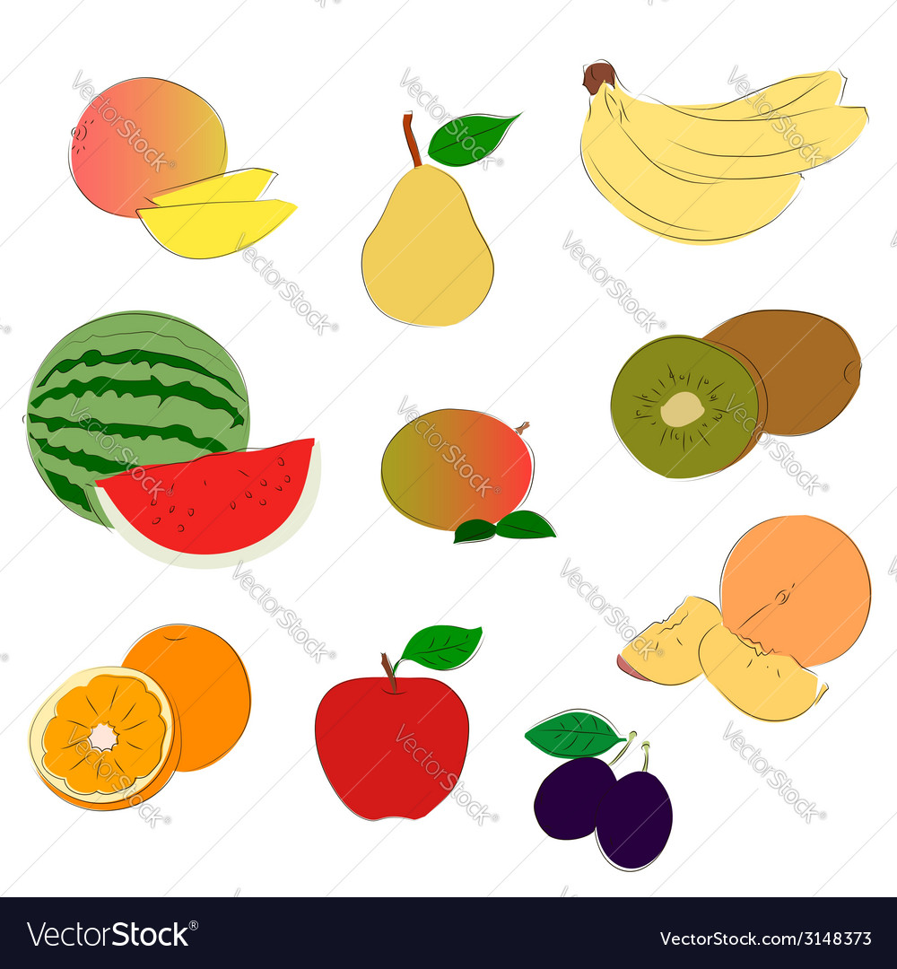 Fruits sketchy icons vector | Price: 1 Credit (USD $1)