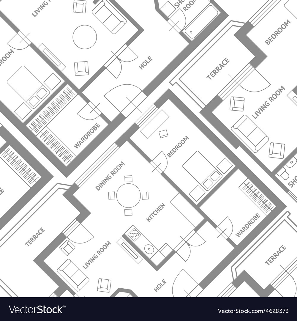 Furniture architect plan background flat vector | Price: 1 Credit (USD $1)