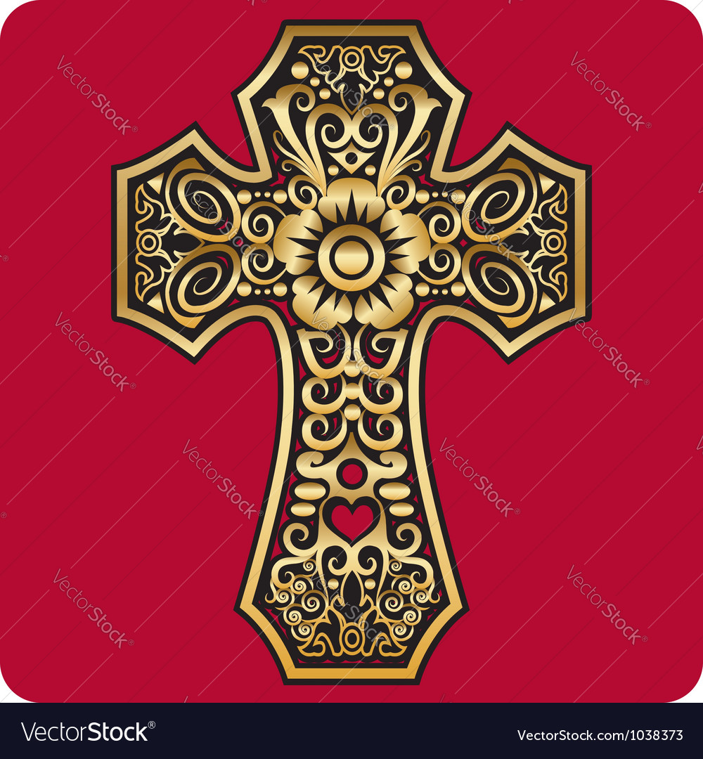Golden cross ornament vector | Price: 1 Credit (USD $1)