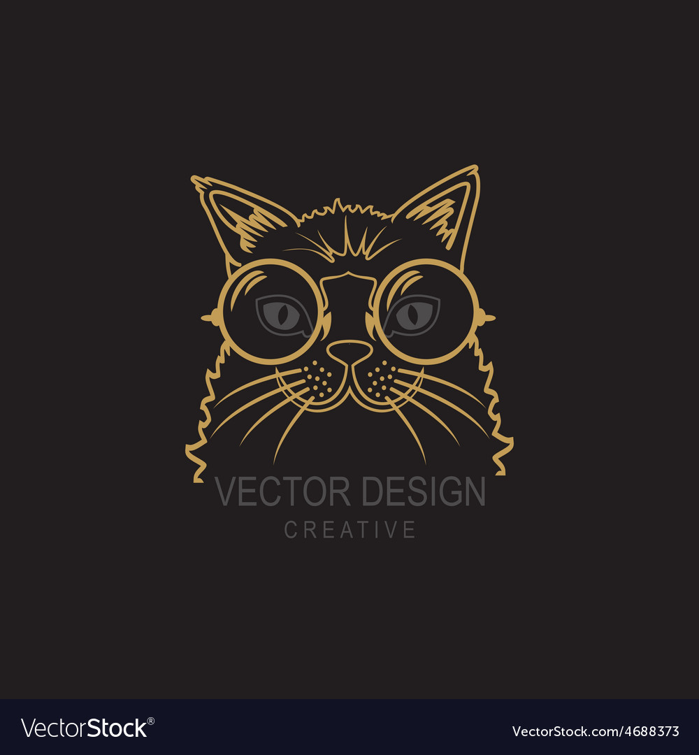 Hand drawn of cat hipster with big vector | Price: 1 Credit (USD $1)