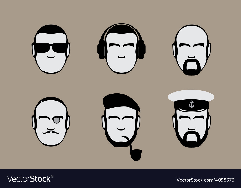 Set of icons of male stylized faces vector   Price: 1 Credit (USD $1)