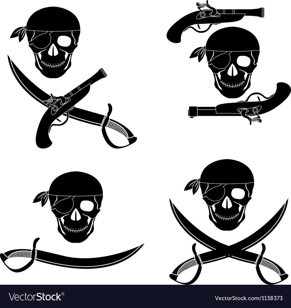 Set of pirates skulls stencils vector | Price: 1 Credit (USD $1)