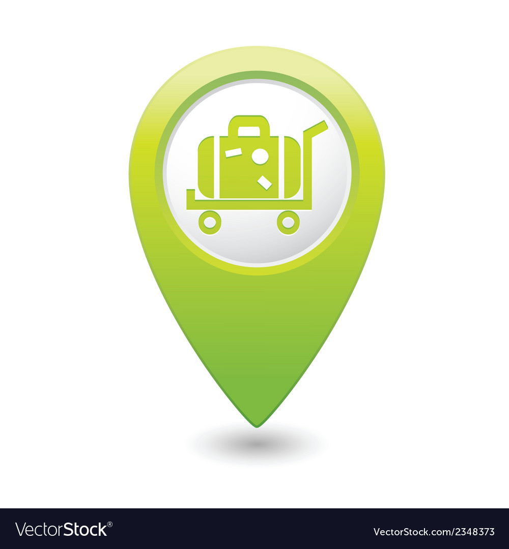 Suitcase on wheelbarrow icon green map pointer vector | Price: 1 Credit (USD $1)