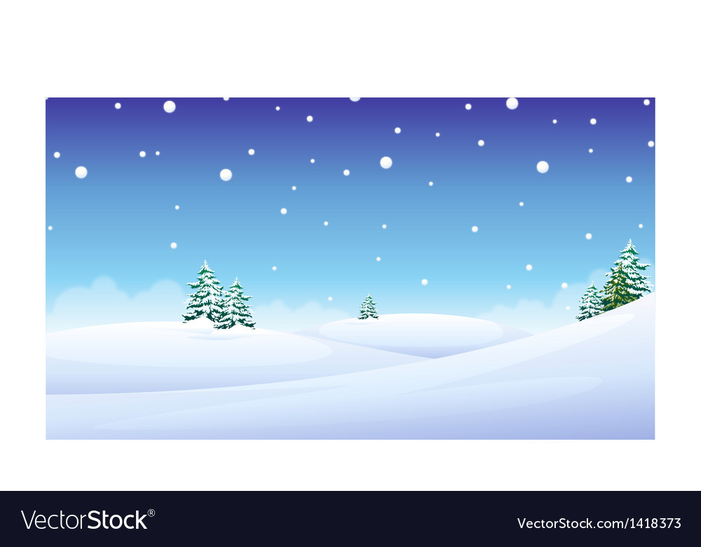 Trees over snow landscape vector | Price: 1 Credit (USD $1)