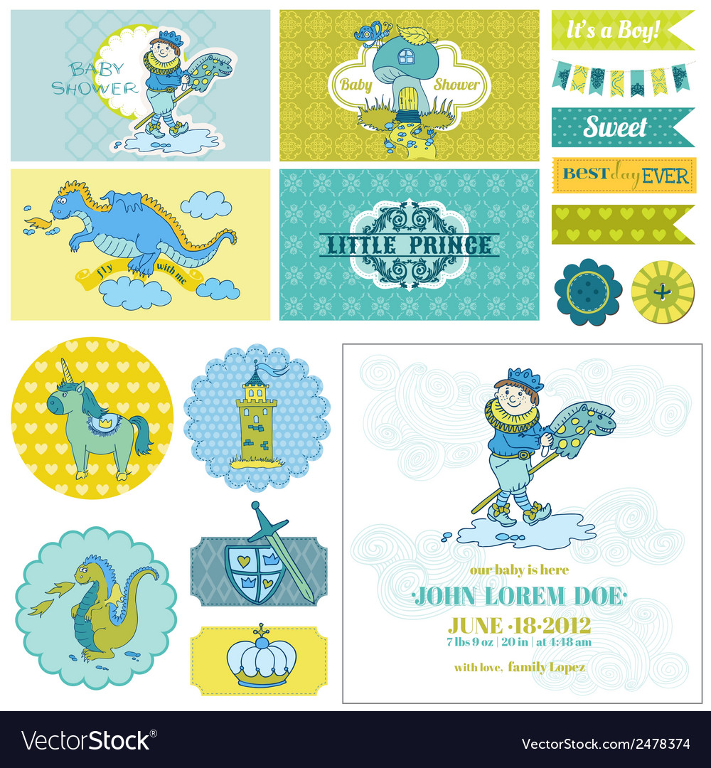 Baby shower little prince boy set vector | Price: 1 Credit (USD $1)