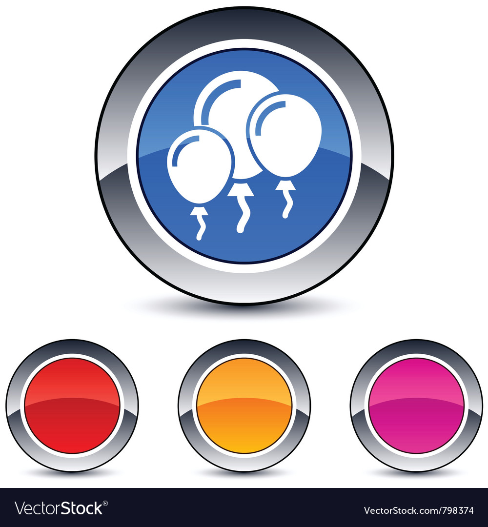 Balloons round button vector | Price: 1 Credit (USD $1)