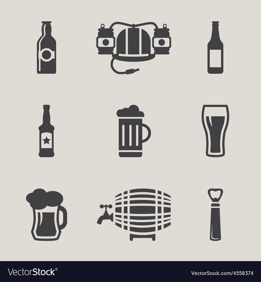 Beer icons set bottle glass vector | Price: 1 Credit (USD $1)
