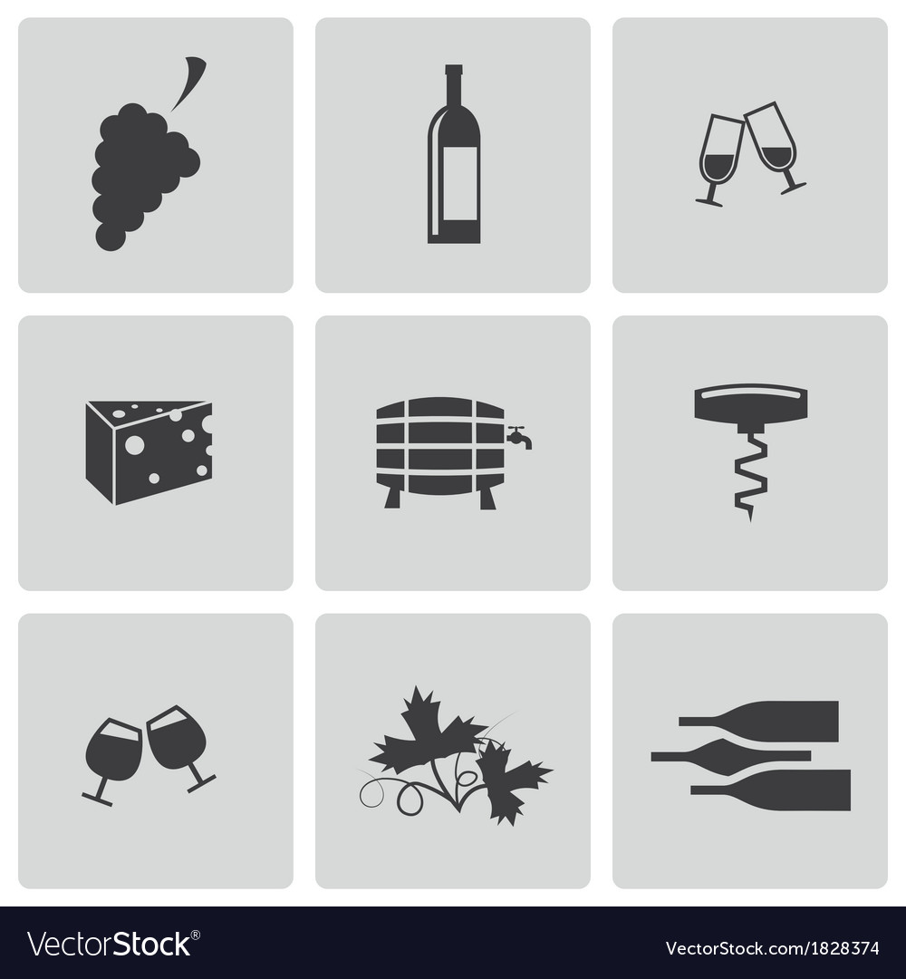 Black wine icons set vector | Price: 1 Credit (USD $1)