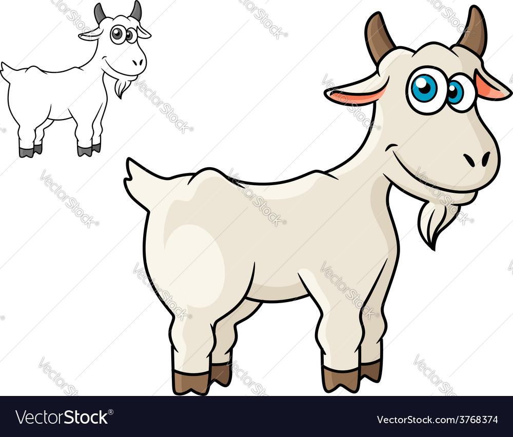 Cartoon horned farm goat vector | Price: 1 Credit (USD $1)