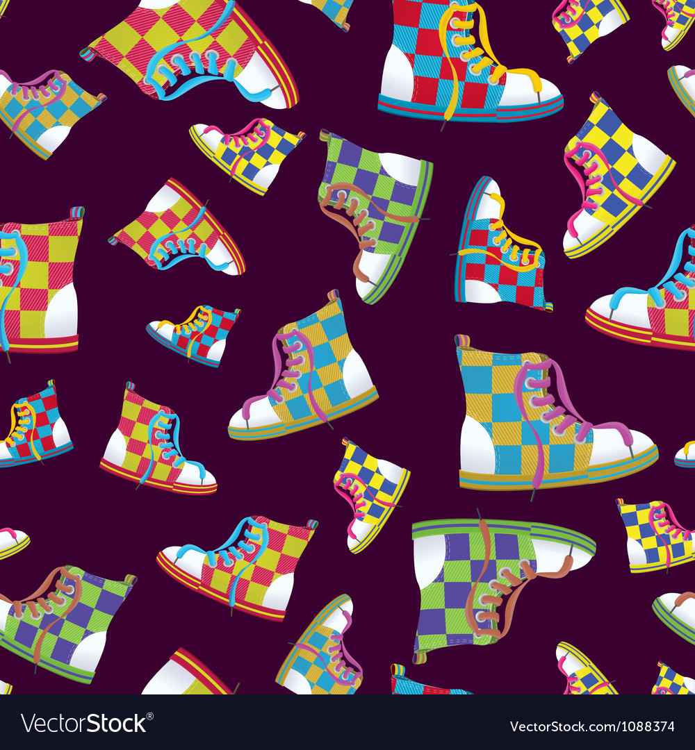 Checked sneaker seamless pattern vector | Price: 1 Credit (USD $1)