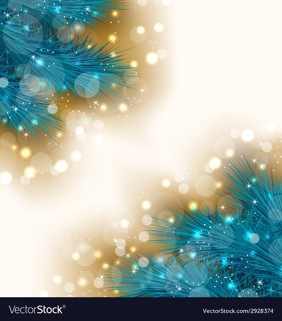 Christmas light background with realistic fir vector | Price: 1 Credit (USD $1)