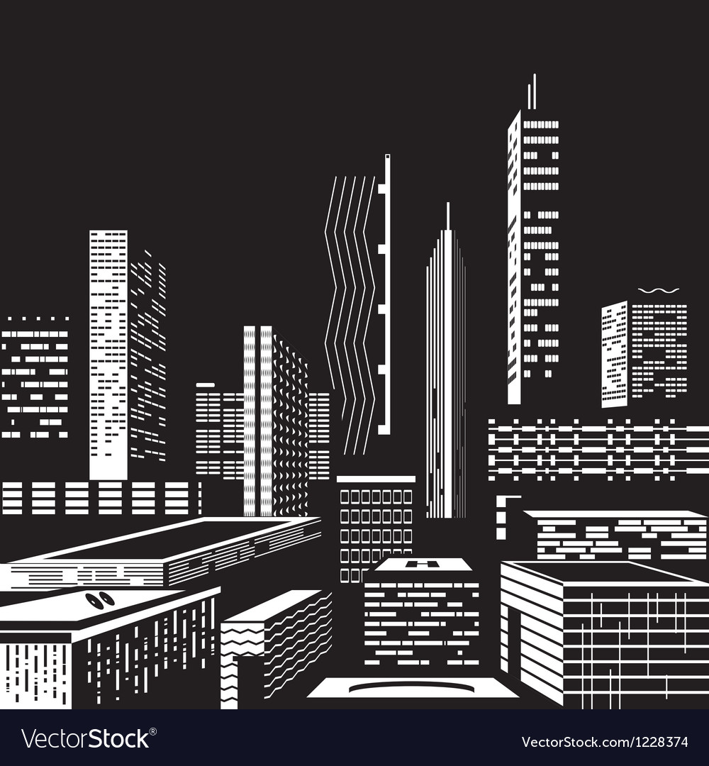 Cityscape by night vector | Price: 1 Credit (USD $1)